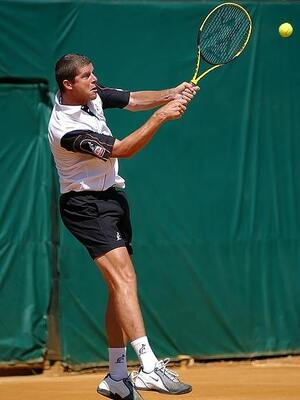 man playing tennis