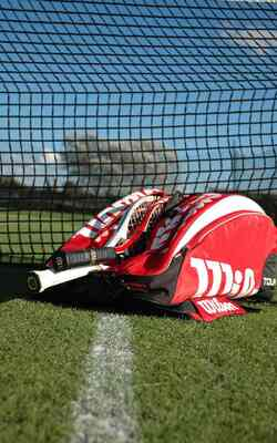 red tennis bag